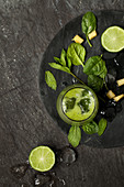Green Smoothie with Pineapple, Mint and Lime