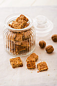 Homemade nut biscuits in a cookie jar