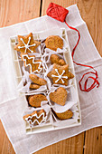 Wholewheat gingerbread cookies in various shapes for gifting