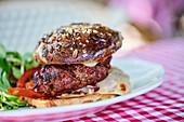 A barbecue burger