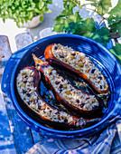 Stuffed eggplants with rice