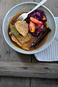 Spiced pot roast with apple red cabbage