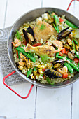 Paella with marinated chicken (Spain)