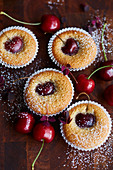 Financiers (French almond cakes) with cherries