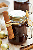 Gingerbread sauce in jars for gifting