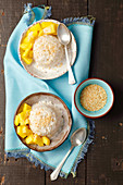 Thai rice and coconut pudding with mango