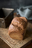 Pumpernickel bread with caraway seeds