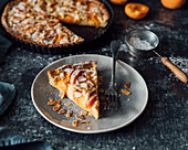 Rustic apricot tart made with fresh apricots and frangipane
