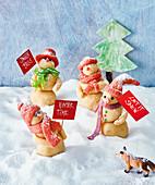 Marzipan snowmen