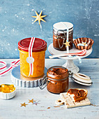 Orange marmalade and speculoos spread for gifting at Christmas