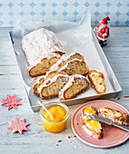 Quark stollen with apricot jam