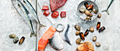 Various fresh fish and clams