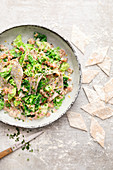 Buckwheat stew with savoy cabbage and ham