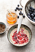 Gluten-free chia pudding with blueberry sauce