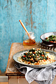 Stir-fried kale with couscous