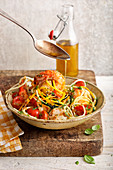 Prawns with gluten-free zucchini noodles