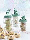 Christmas cookies in decorative jars