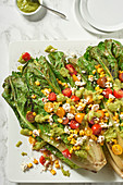 Summer cos lettuce salad with tomatoes, sweetcorn and feta cheese