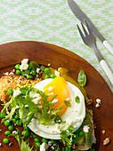 A fried egg on a slice of bread with peas, frisee salad and feta cheese
