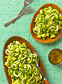 Courgette pasta with edamame and avocado