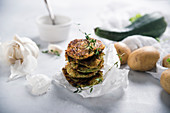 Vegan potato and courgette fritters