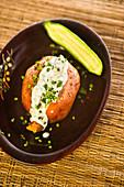 Sweet potato with a vegan herb dip