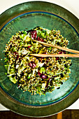 Iceberg lettuce with mung bean shoots and crushed radishes