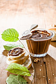 Hazelnut spread made from roasted hazelnuts, honey and cocoa