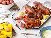 Steamed Lobsters with Sweet Corn and Red Potatoes