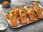 Sauteed Boneless Salmon Fillets with Leeks