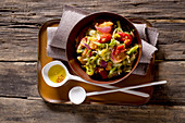 Panzanella with chicory salad and peeled tomatoes