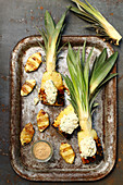 Grilled pineapples with coconut and basil cream