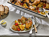 Chicken Baked With Yukon Gold Potatoes, Cherry Tomatoes and Herbs