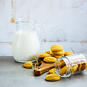 Milk in jug and freshly baked coconut cookies