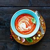 Gazpacho Tomato summer cream soup in bowl