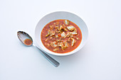 Cabbage soup with beef and tomatoes