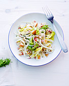 Ham salad with pears, walnuts and yoghurt dressing