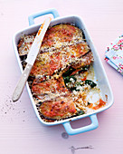 Spinach and aubergine lasagne with rosemary, thyme and couscous