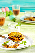 Carrot and chard fritters with a tomato and cream cheese dip
