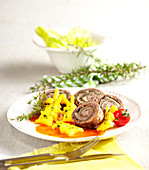 Italian beef roulade with polenta rabbits and tomato sauce