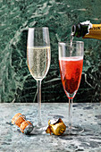 Kir Royal and Champagne in glasses