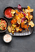 Vegetable chips with different dips