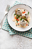 Königsberger Klopse (meatballs in white sauce with capers) on rice