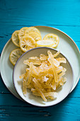 Candied lemon peel and slices