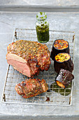 Leg of lamb and grilled aubergines with mint pesto