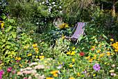 Liegestuhl zwischen Blumen im Bauerngarten