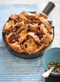 Bread and butter pudding spiced with apple wine