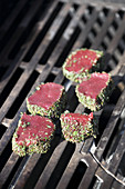 Venison medaillons in a herb crust on the grill