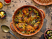 Chicken Tagine with Calamata Olives, Cracked Green Olives and Preserved Lemons