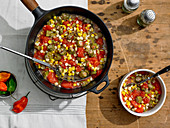 Summer Southern Succotash of Okra, Ripe Tomatoes, Freshly Cut Corn Kernels and Habanero Chile